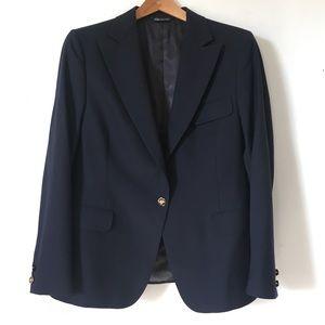 Vintage Burberry Navy Blue Wool Blazer Size 8